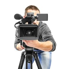 Video camera operator filmed. Isolated on white background.